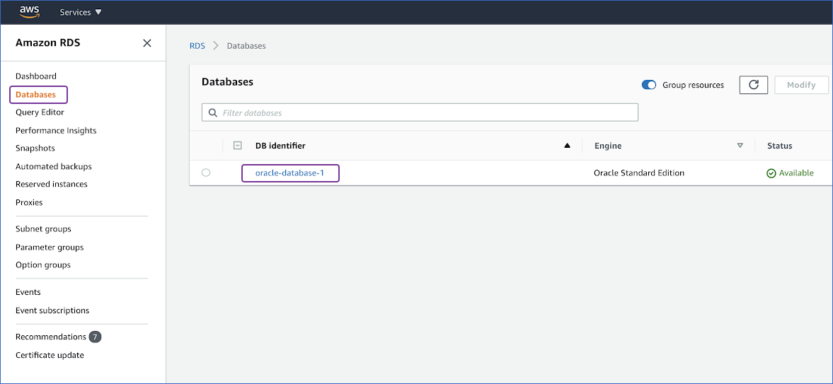 Select Oracle instance