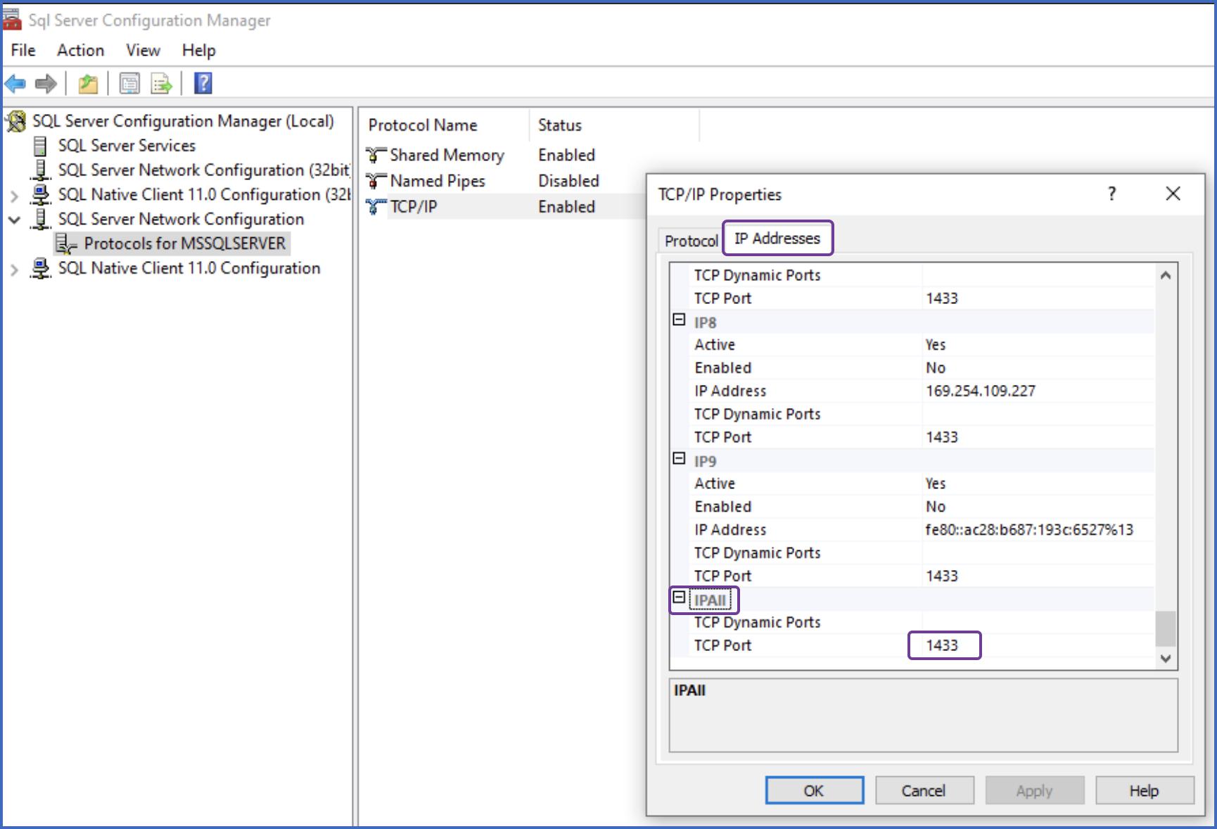 Enter TCP Port
