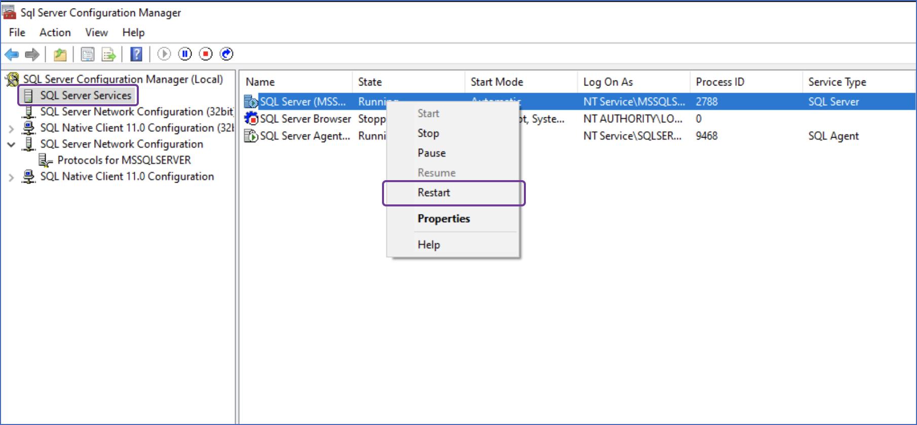 Restart MS SQL Server Instance