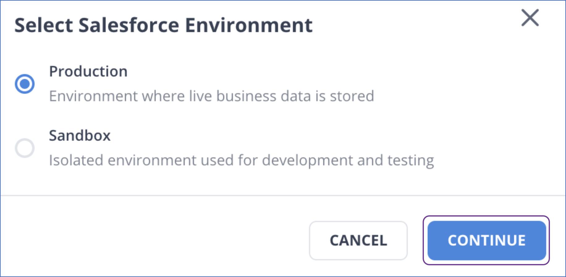 Select environment