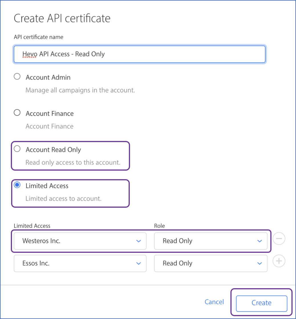 API certificate window