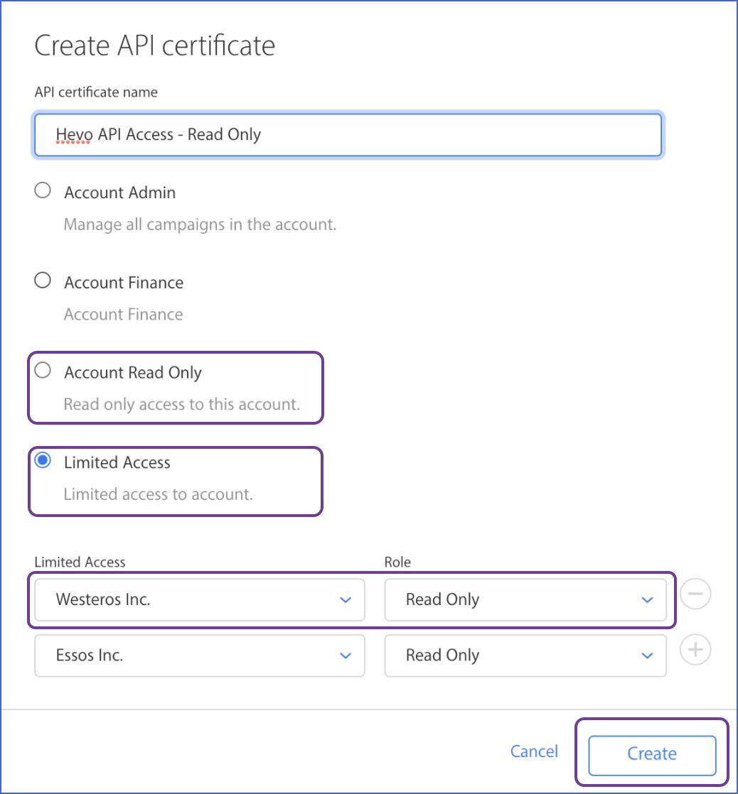 API certificate window