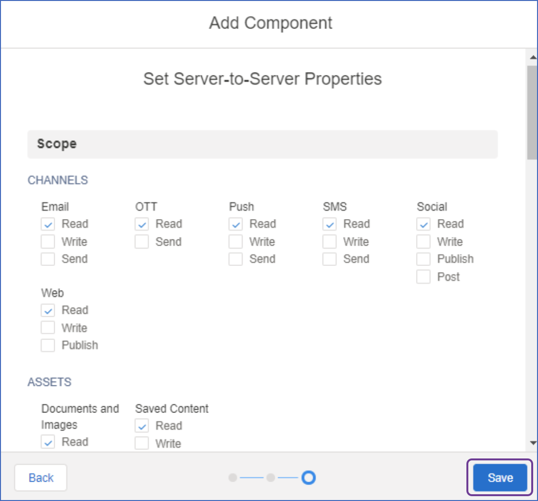 Set server to server properties