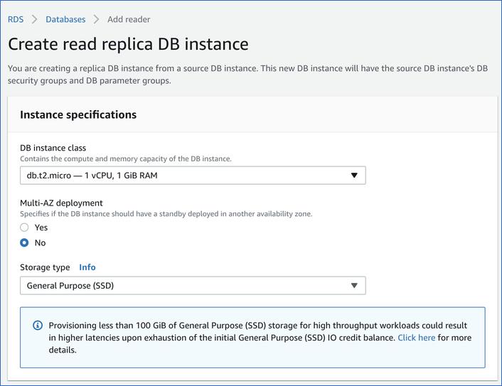 MySQL instance specs