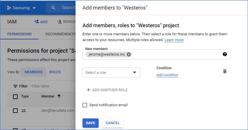 Add a new user to assign permissions to