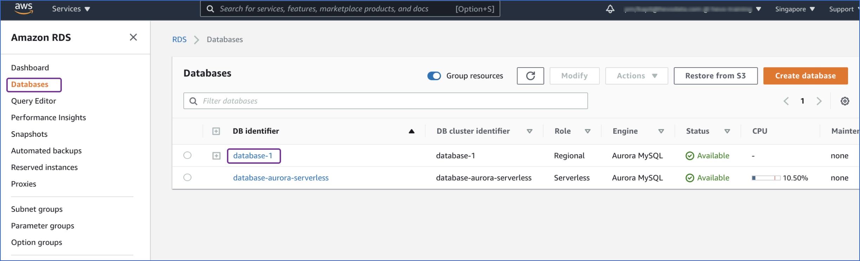 Select DB Identifier