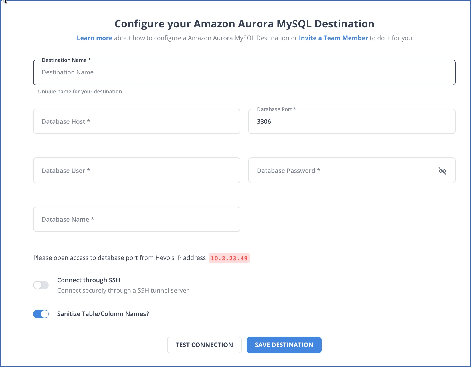 Amazon Aurora MySQL Destination settings