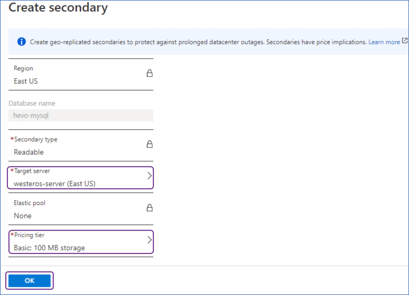 Create secondary page
