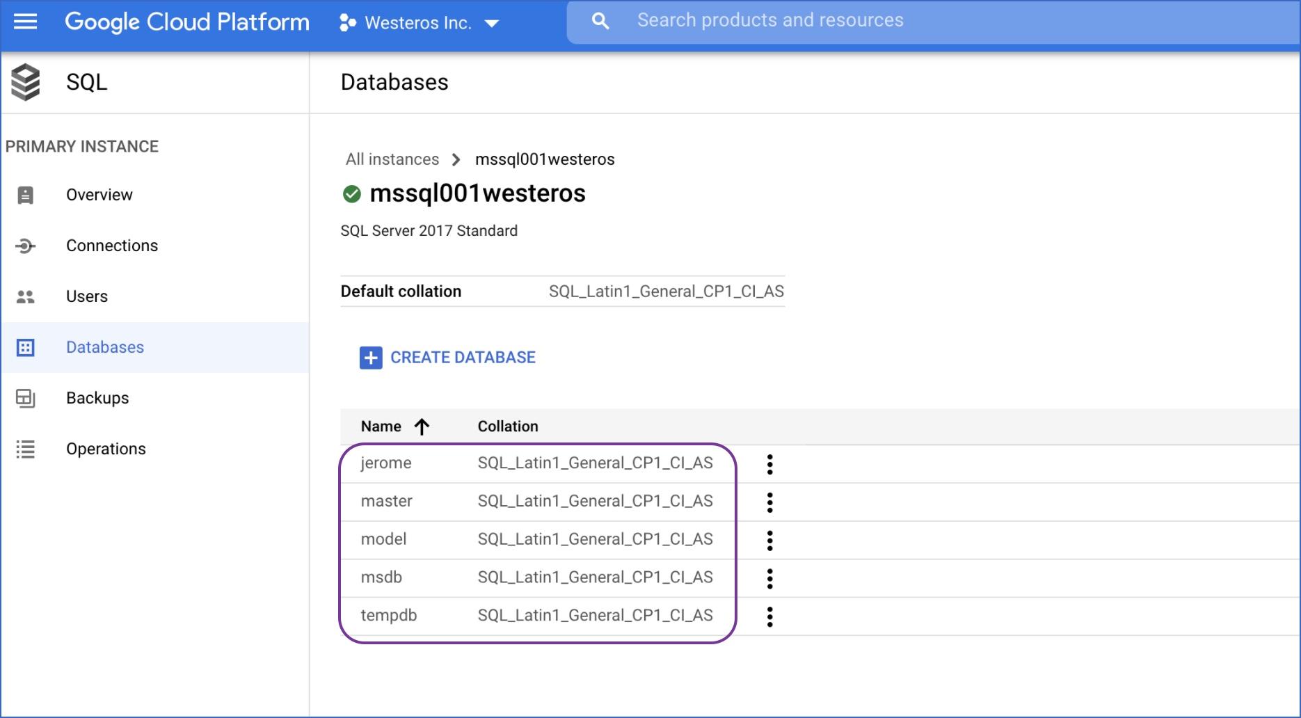 Locate database