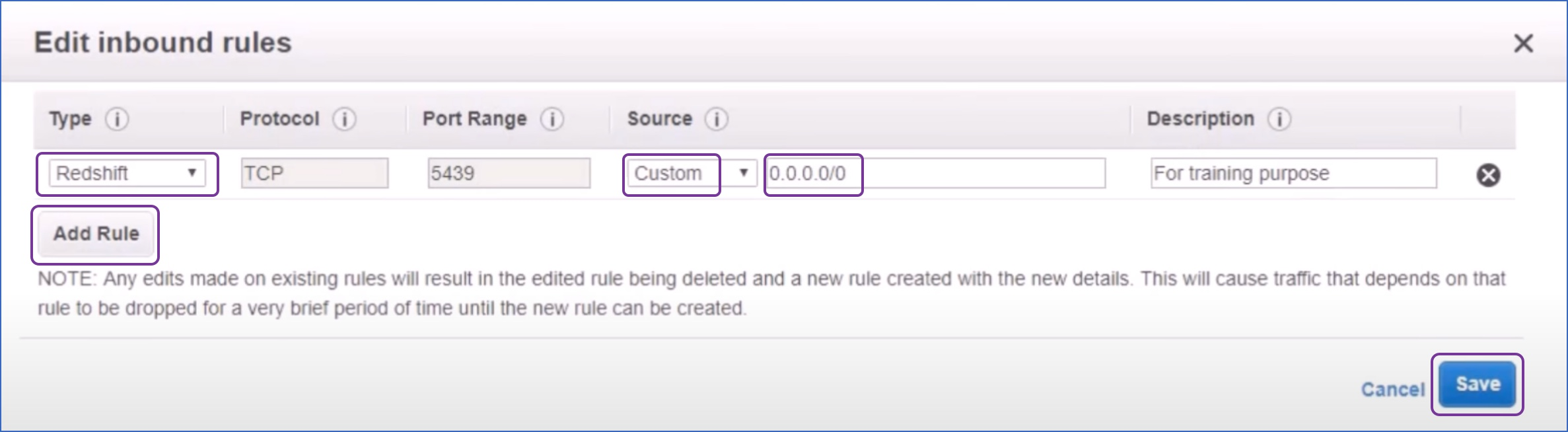 Edit inbound rules