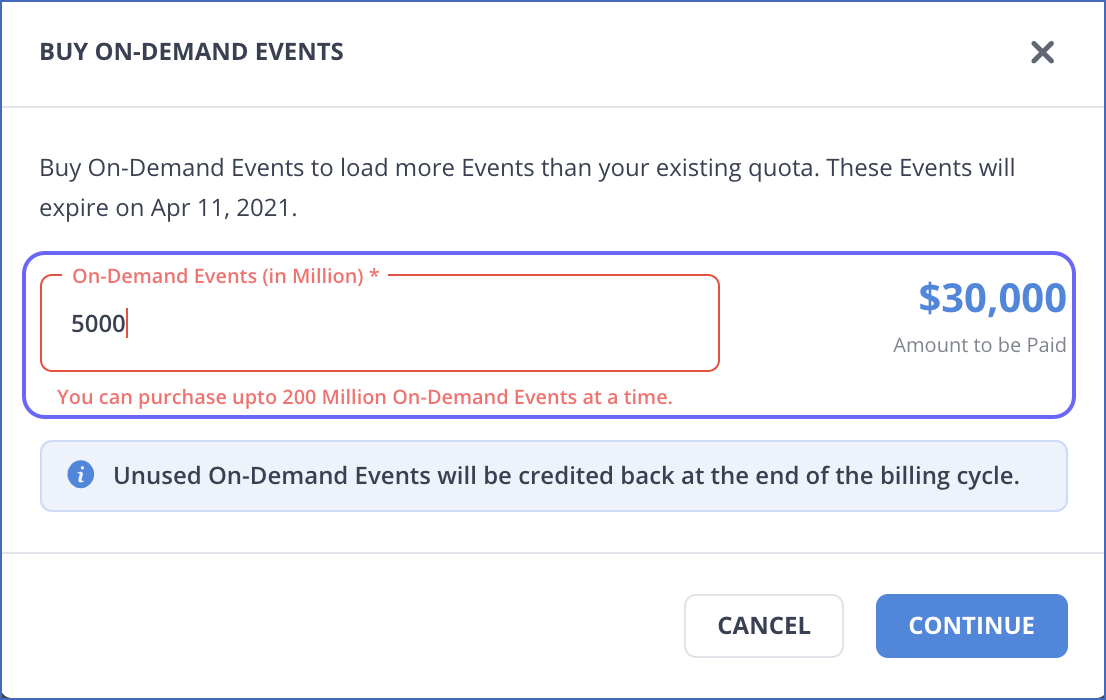 Exceeded On-Demand Event limit