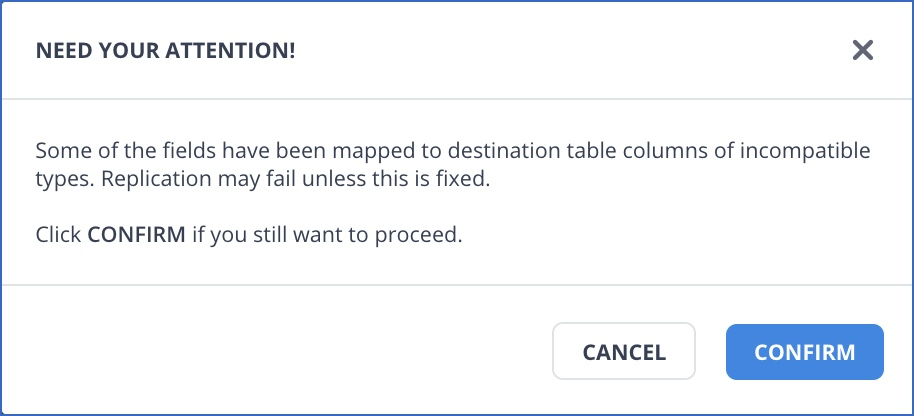 Confirm incompatible field mappings