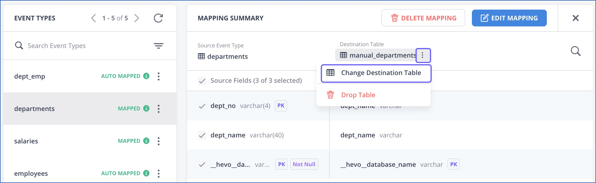 Change Destination table from mapping summary page