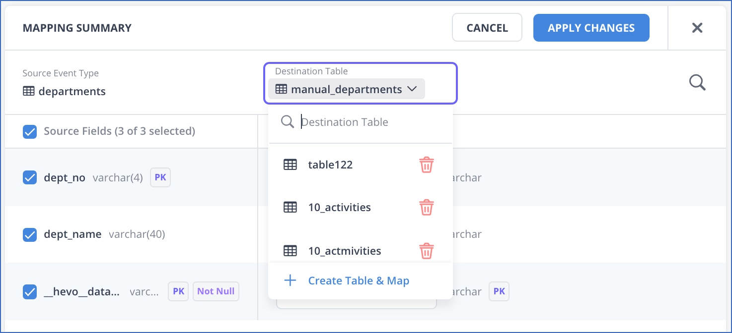 Change Destination table from edit mapping summary page