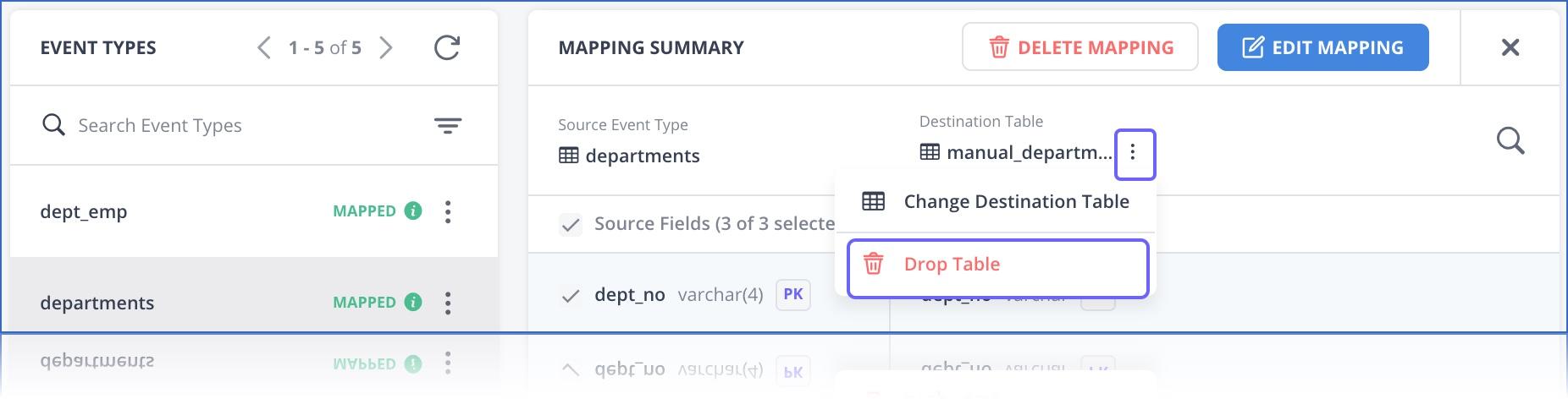 Drop Destination table