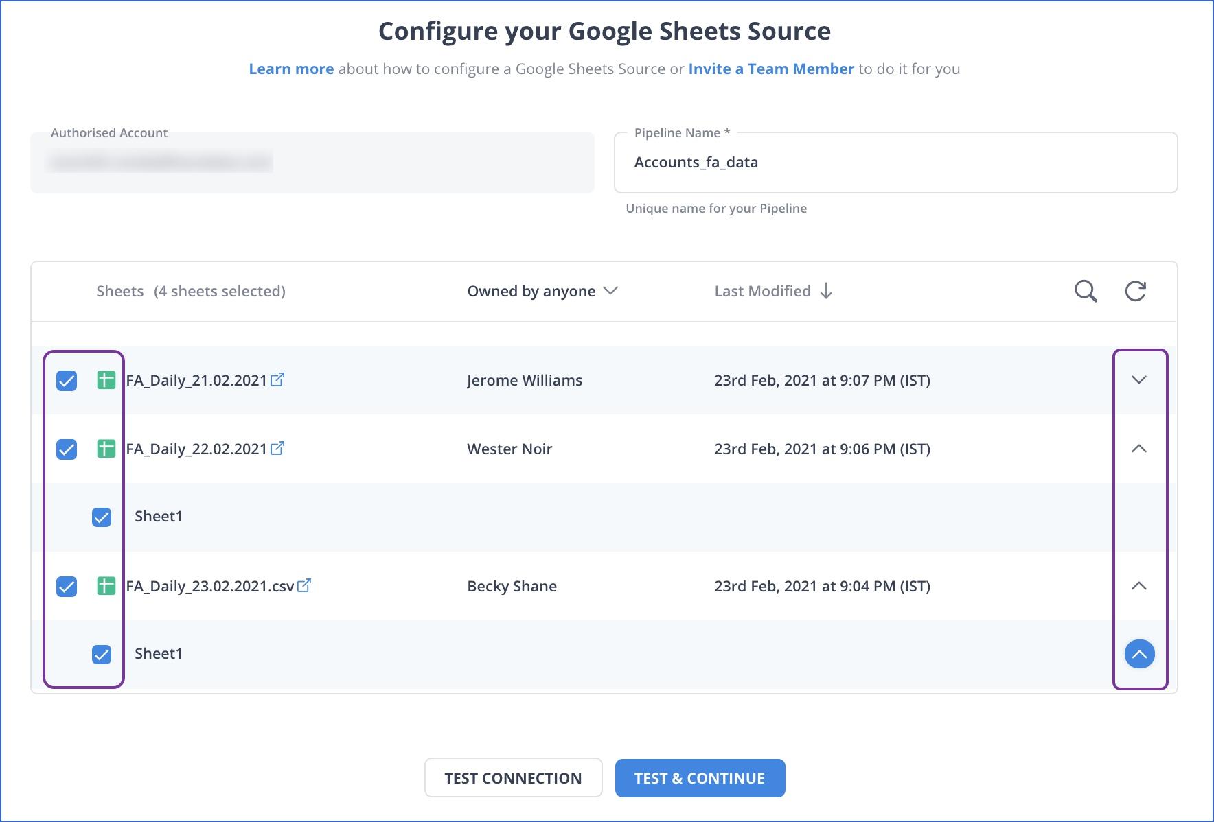 Google Sheets Configuration
