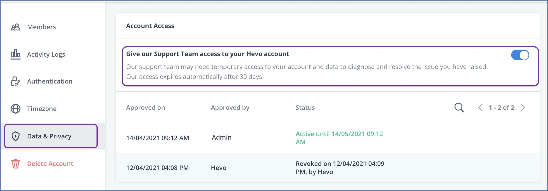 Enable account access for Hevo