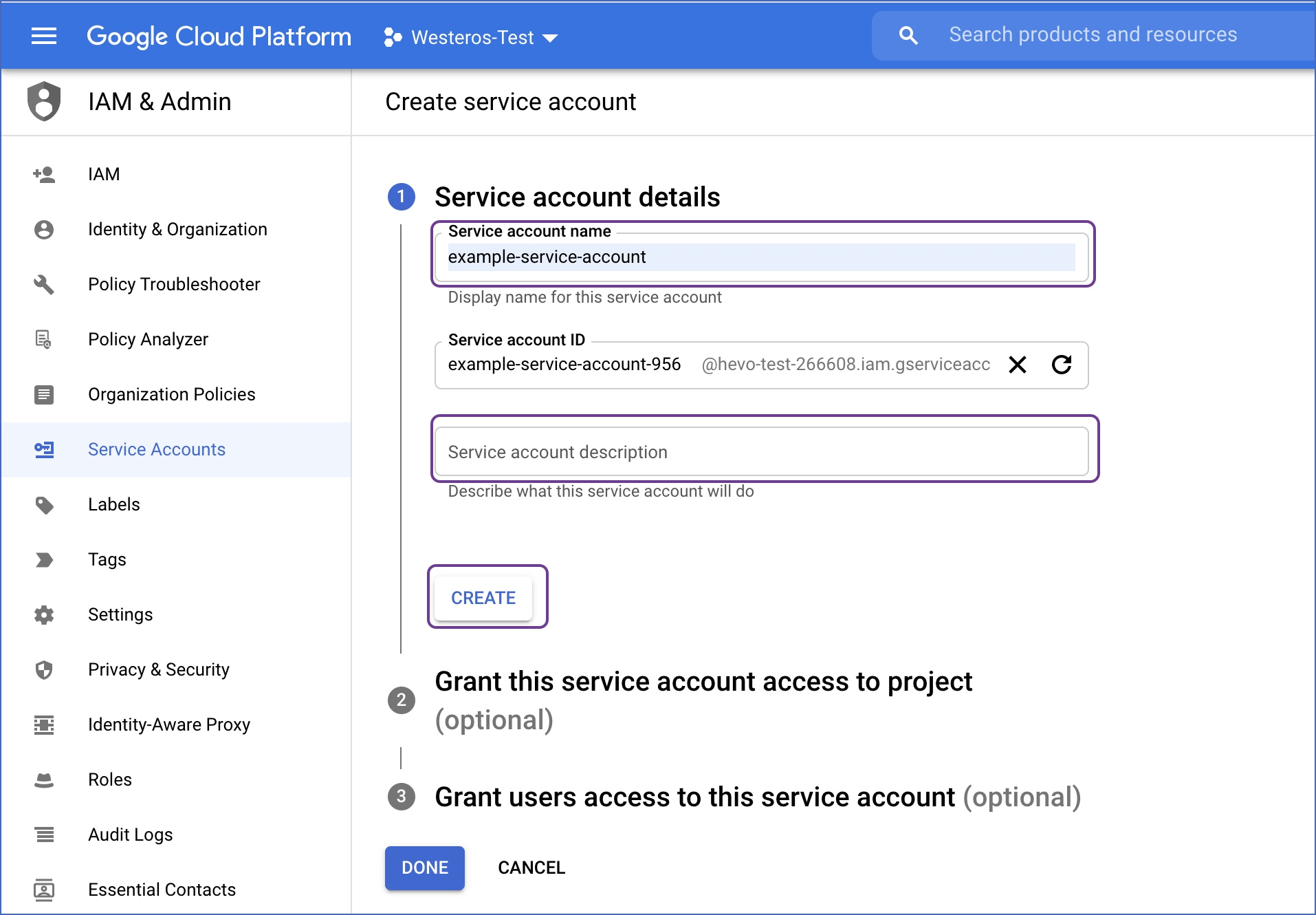 Service account properties