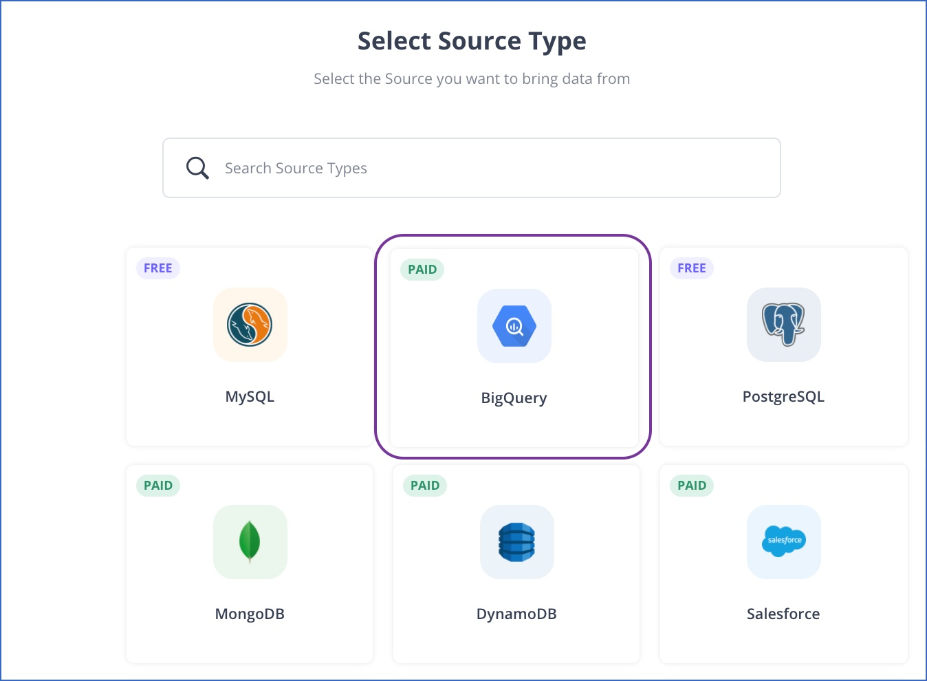 BigQuery Source Type