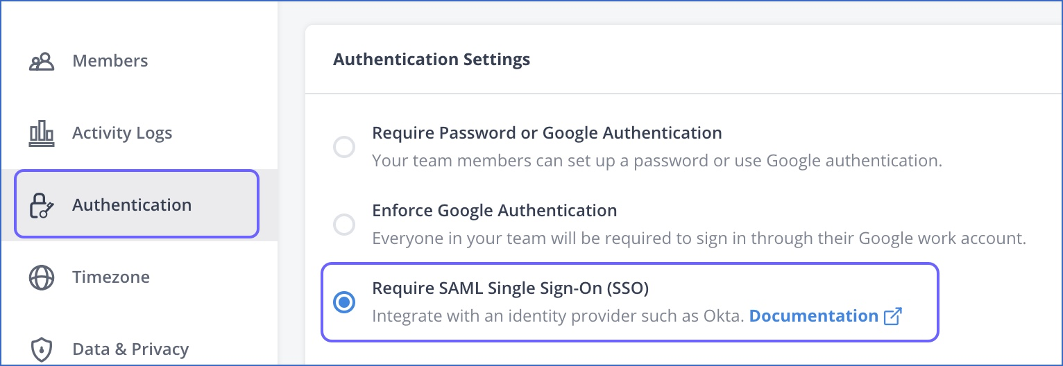Select SAML-SSO option