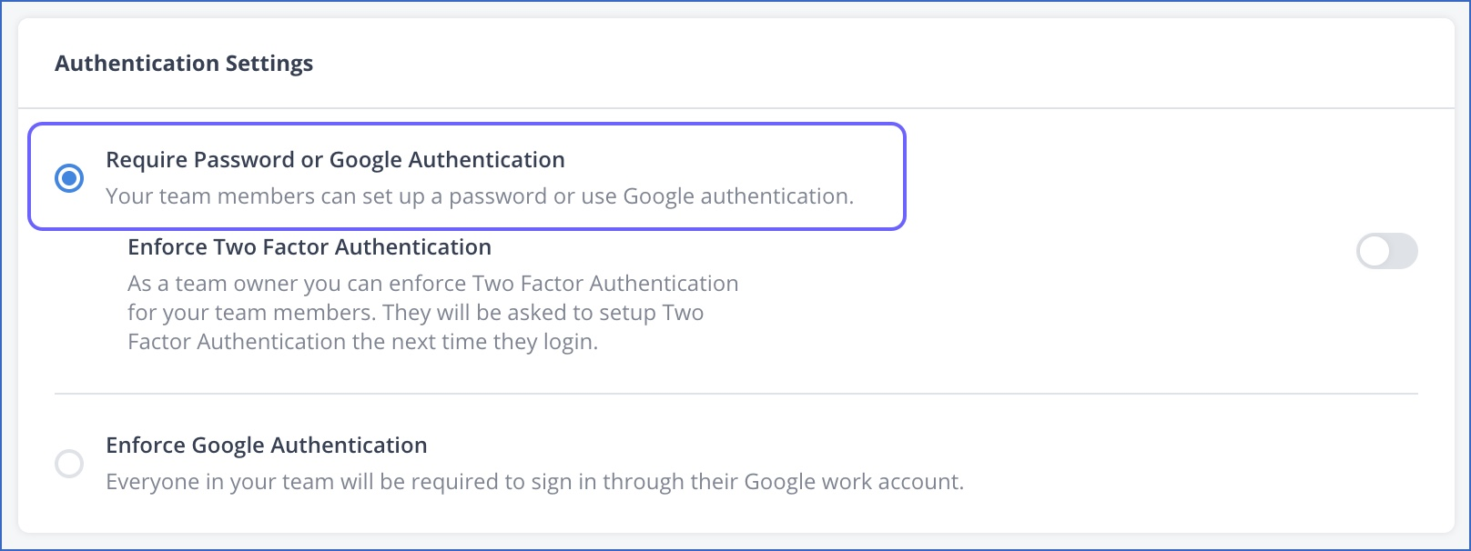 Require password or Google Authentication