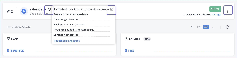 Modify BQ settings