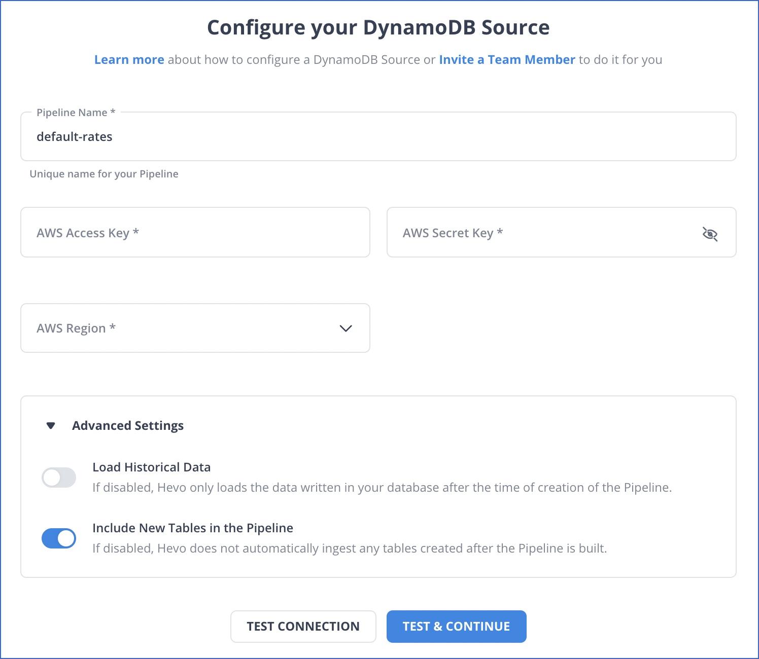 DynamoDB settings
