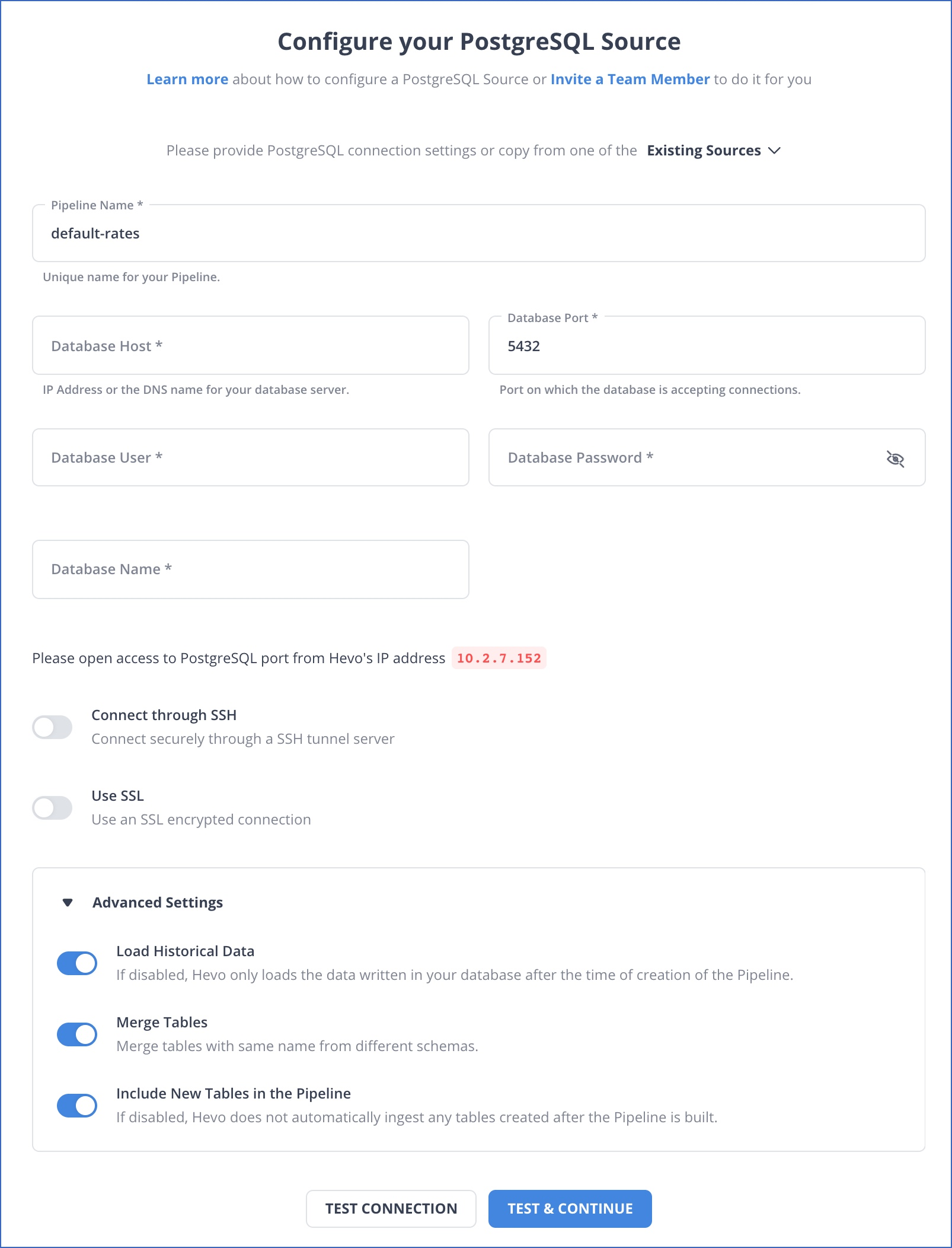 PostgreSQL settings