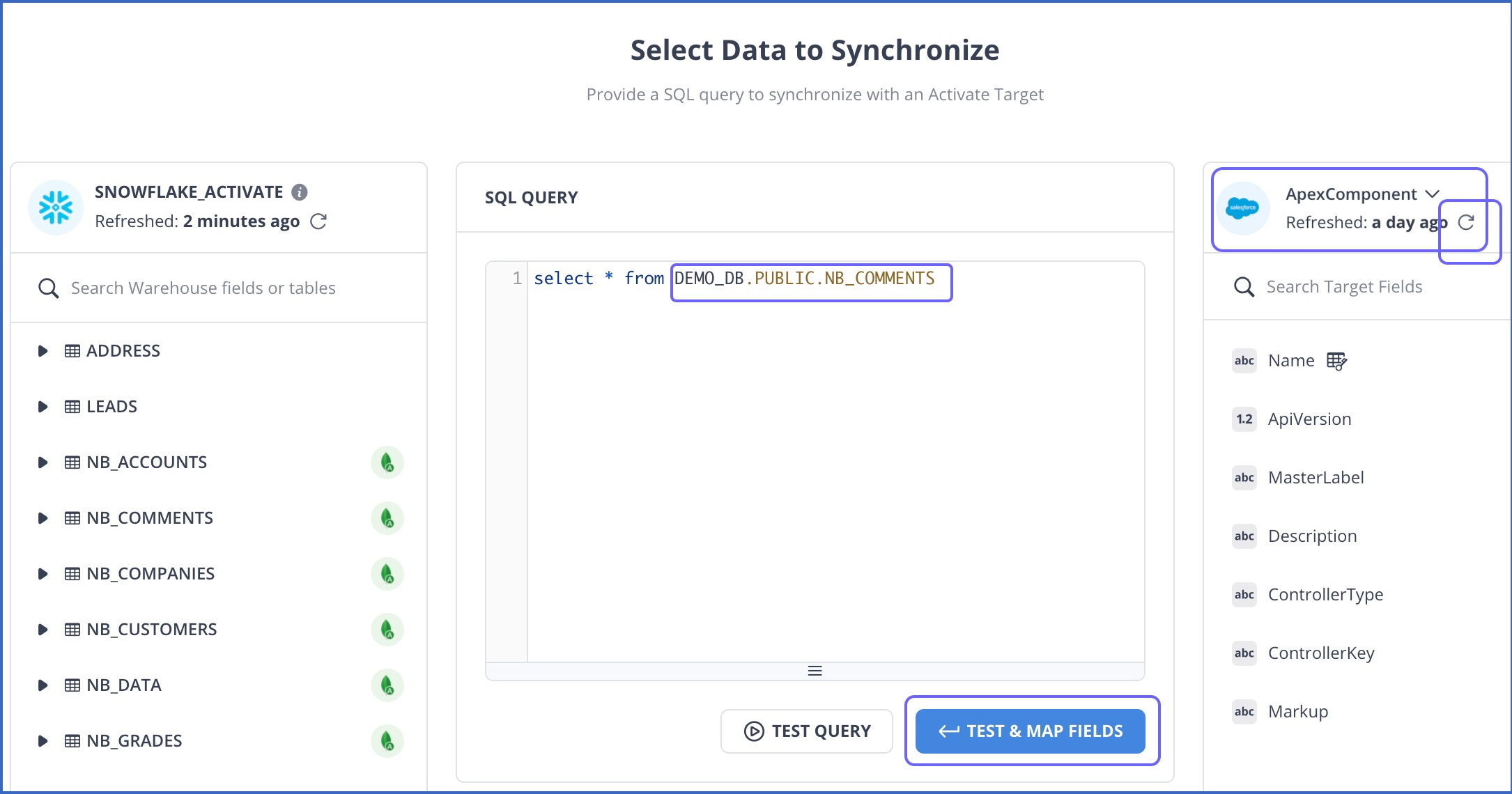 Select Data to synchronize