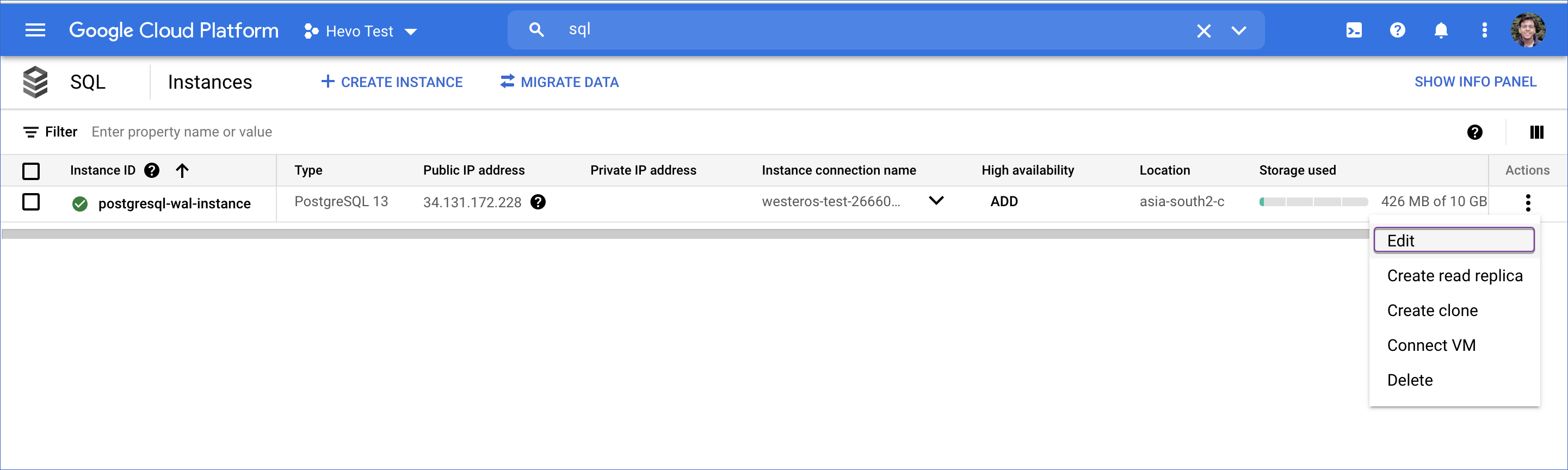 Google Cloud PostgreSQL instance