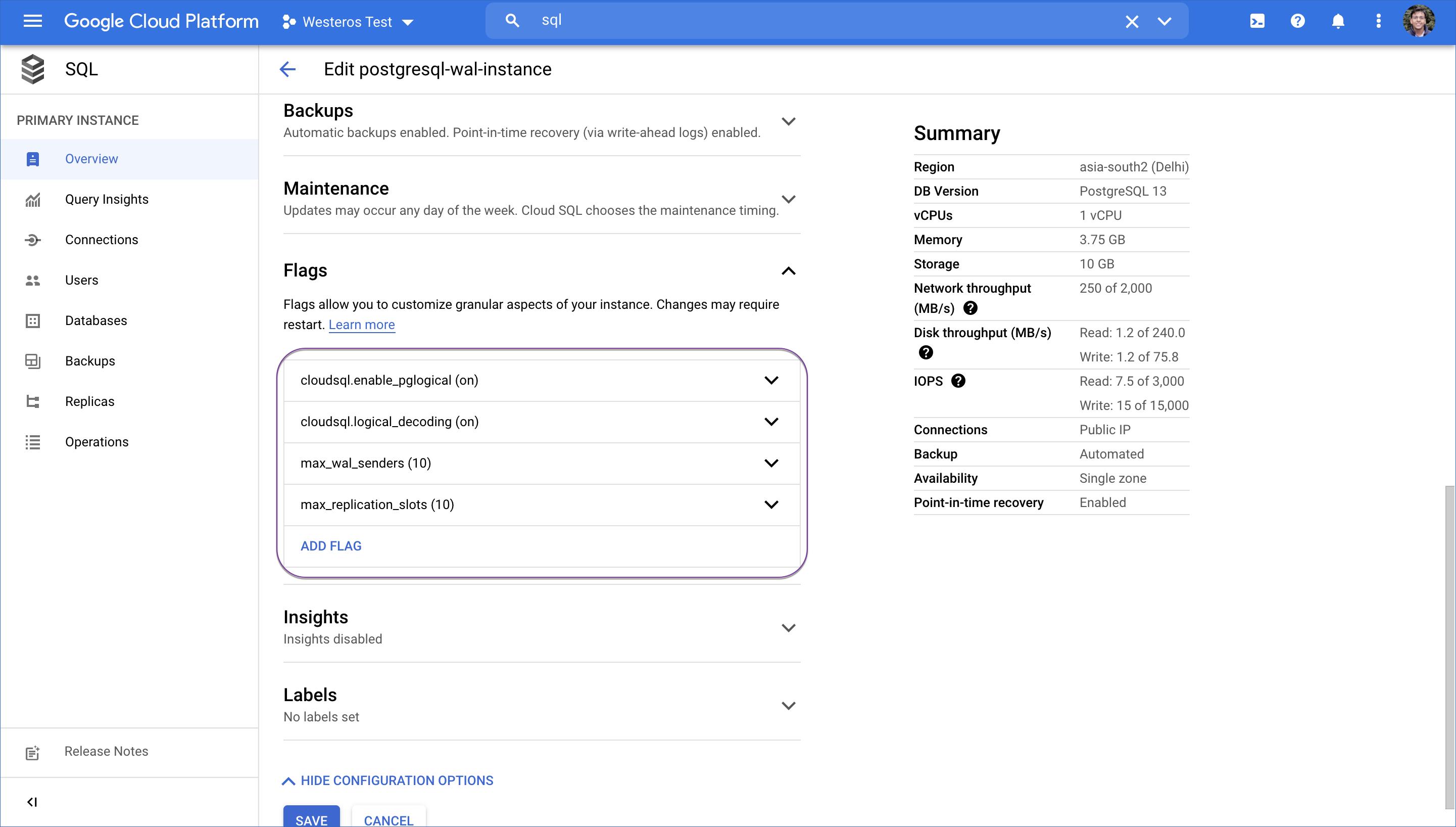 Google Cloud PostgreSQL flags values