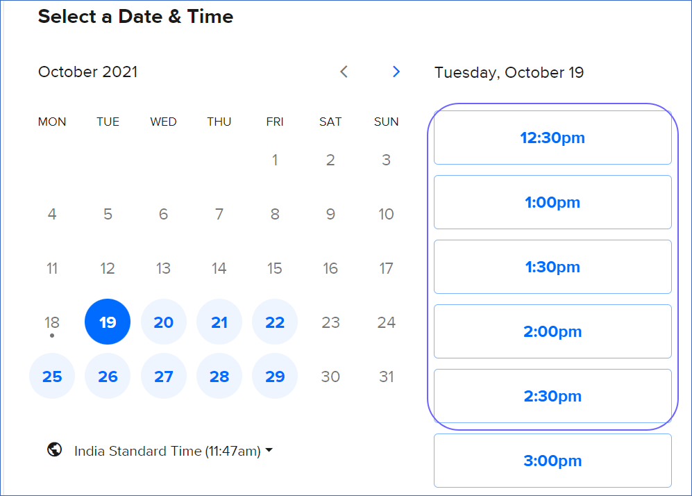 Select your schedule