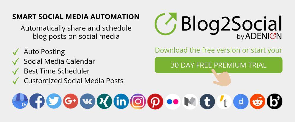 Blog2Social - Smart social media automation for WordPress