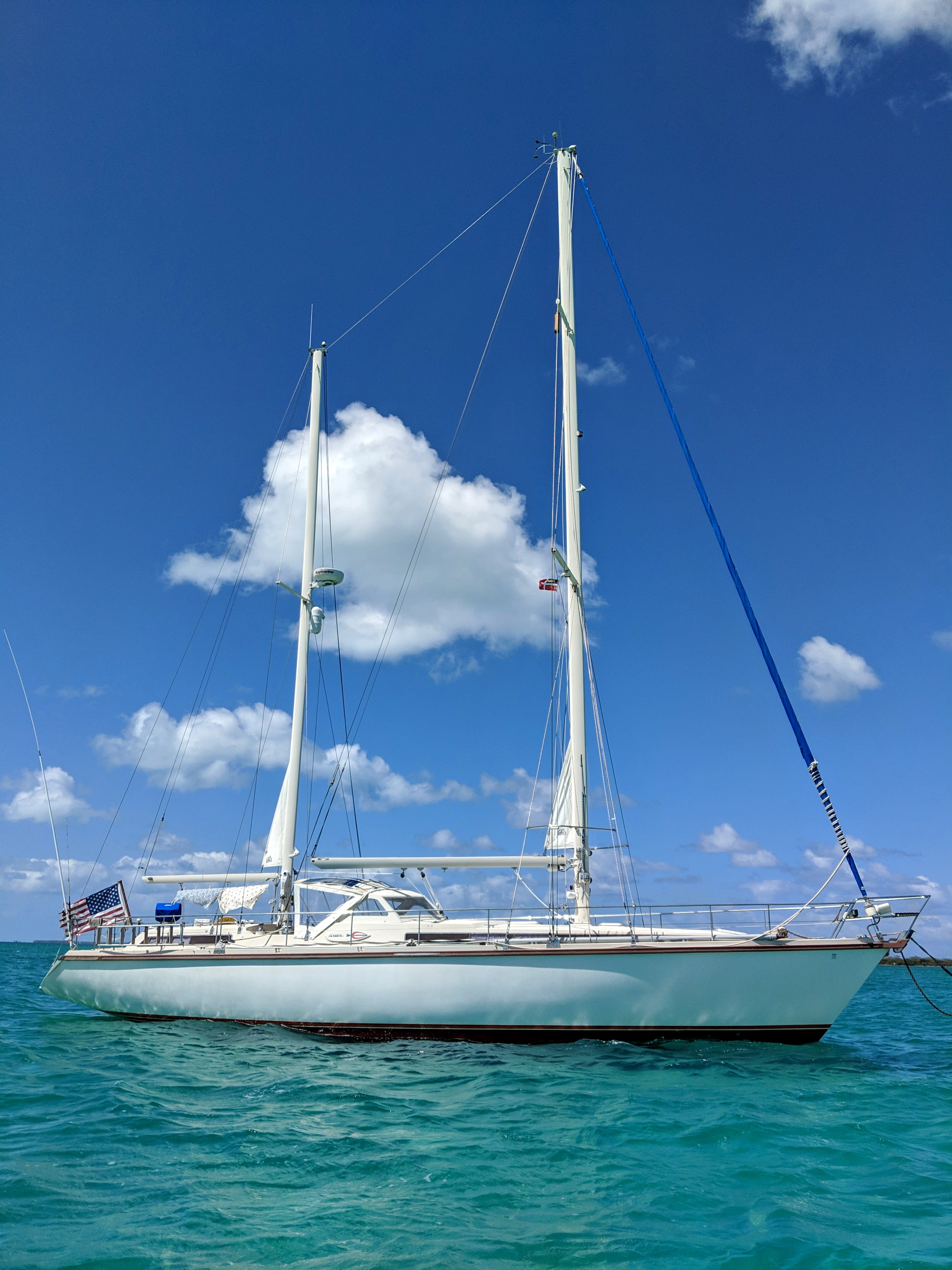 An Amel Super Maramu anchored in tropical waters
