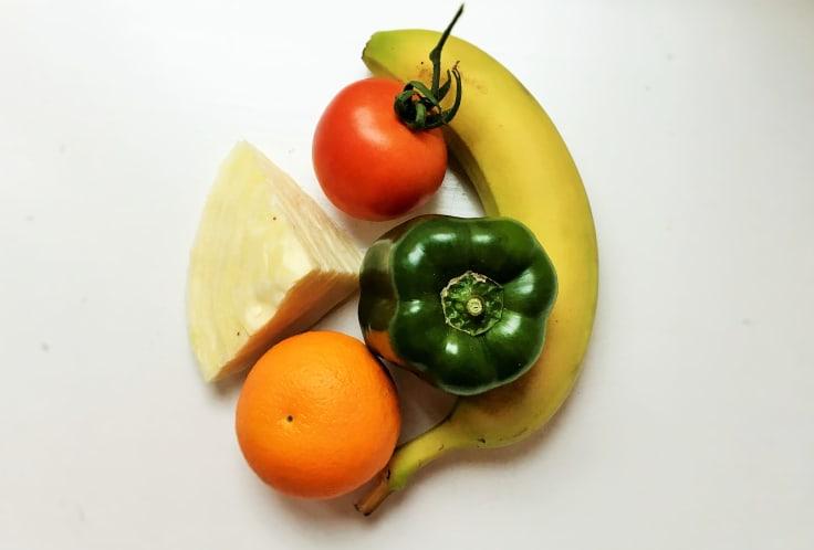 grönsaker, frukt, 500 gram frukt och grönt