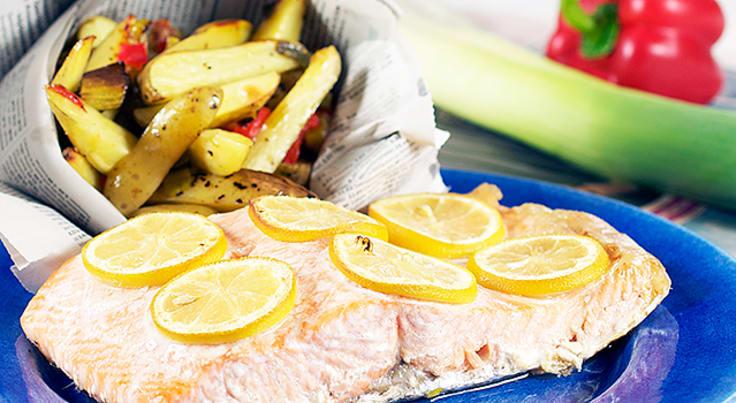 Chililax med citron, potatis och ugnsrostade grönsaker