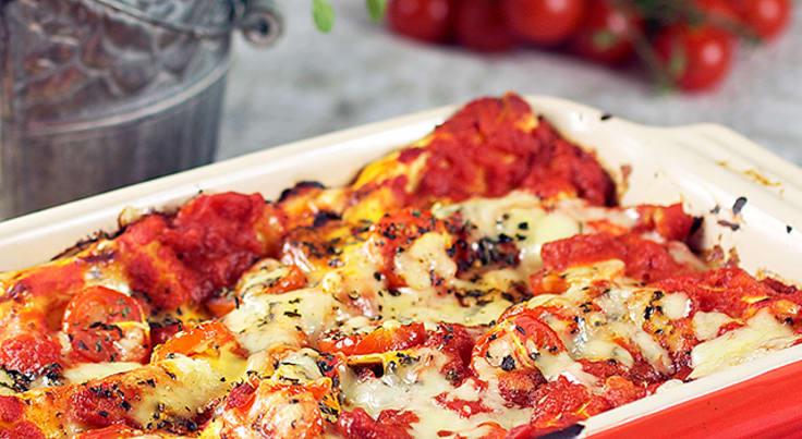 Vegetarisk lasagne med keso och pesto