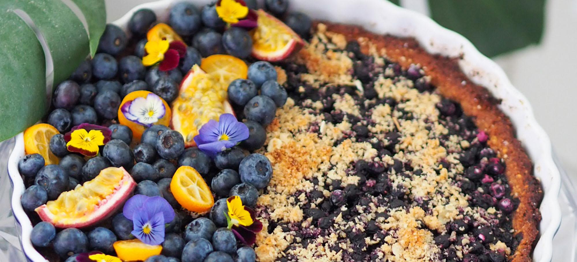 Blåbær crumble tærte