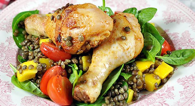 Marinerte kyllinglår med linse- og mangosalat