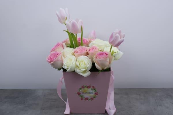 Charming Pinkish White Floral Basket