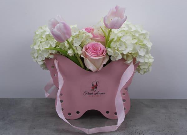 Pinkish White Butterfly Flower Basket