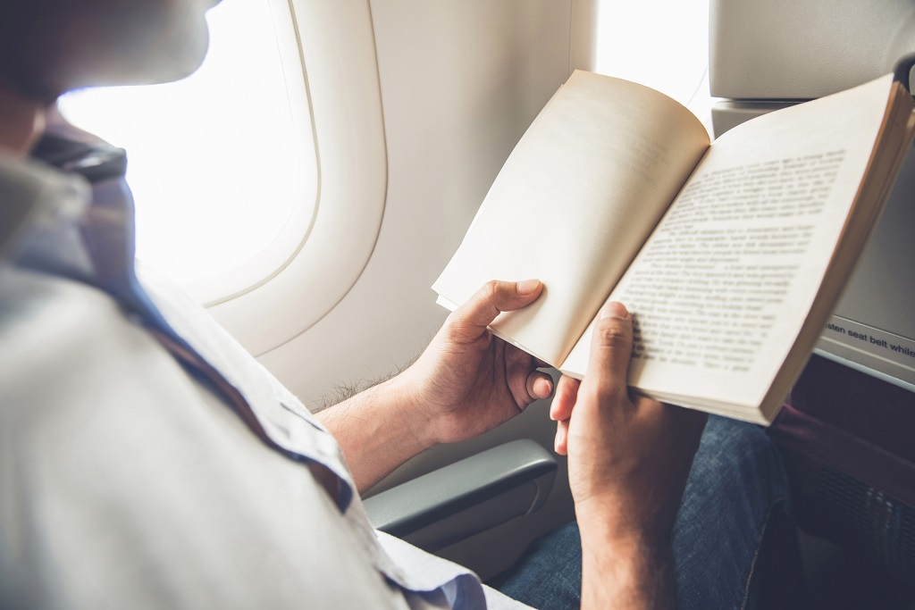 reading, book, flight, travel
