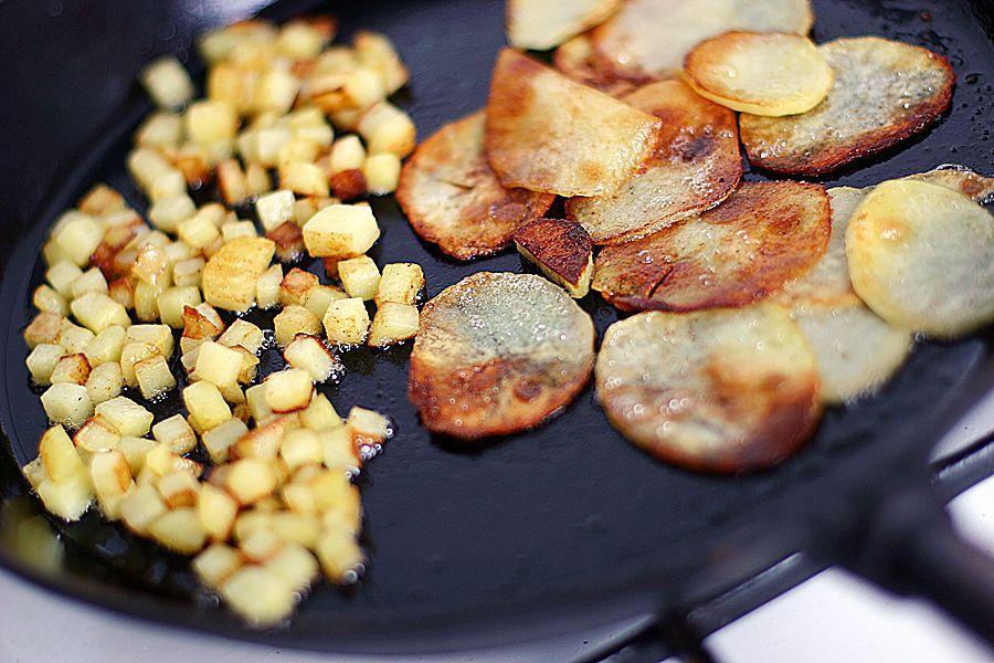 stekt riven potatis