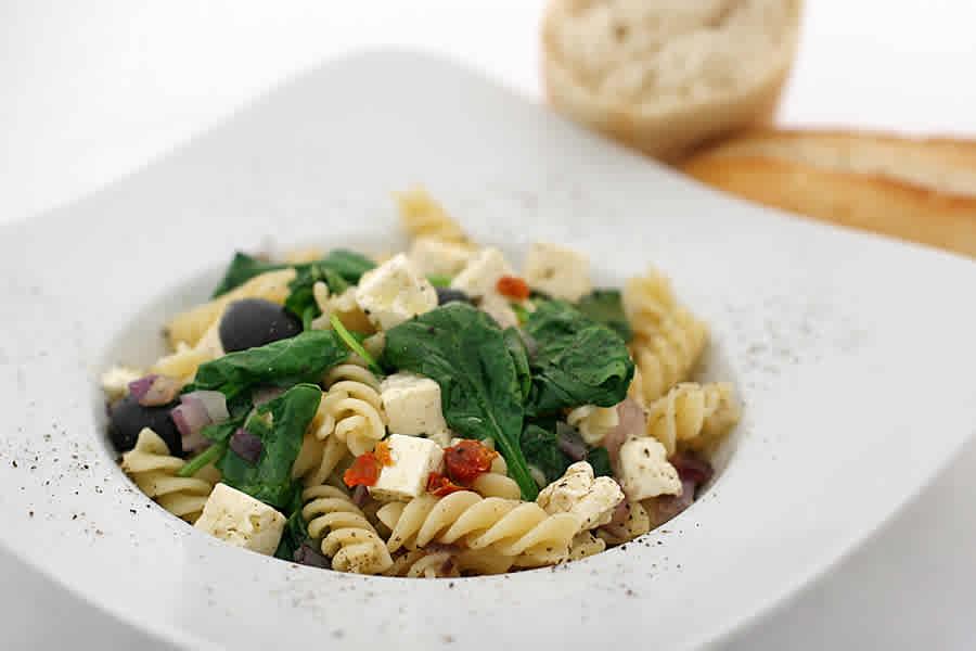 Fusilli spinaci - spenatpasta med fetaost