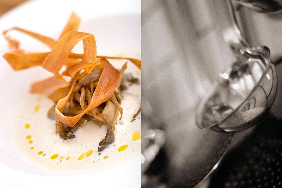 Skummig bönsoppa med whiskystekt ostronskivling samt friterad svartrot (förrätt)