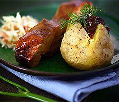 Texasspjäll med bakad potatis