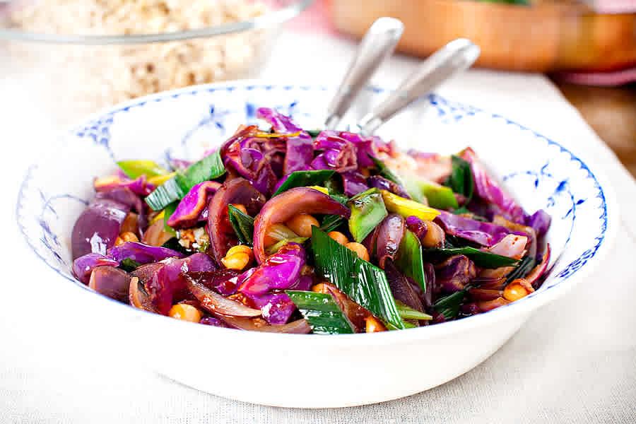 Julens vegetariska glöggade wok