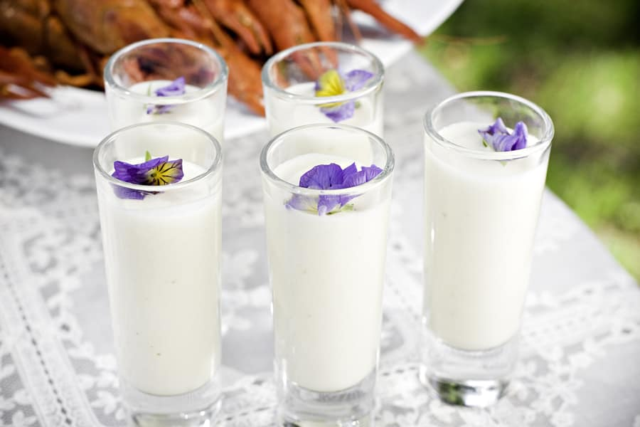 Jordärtskockssoppa i glas (förrätt, bufférätt)
