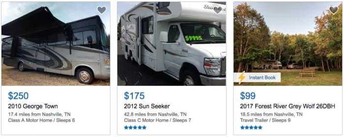 Rent your camper/motorhome through RVshare in Nashville