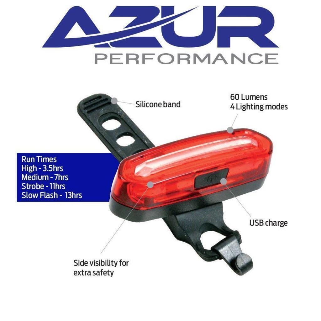 Azur USB Pro 60 Lumens Rear tail light